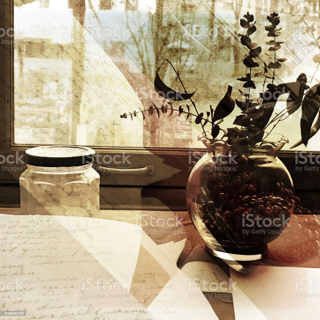 Desk Window and Vase Abstract stock photo