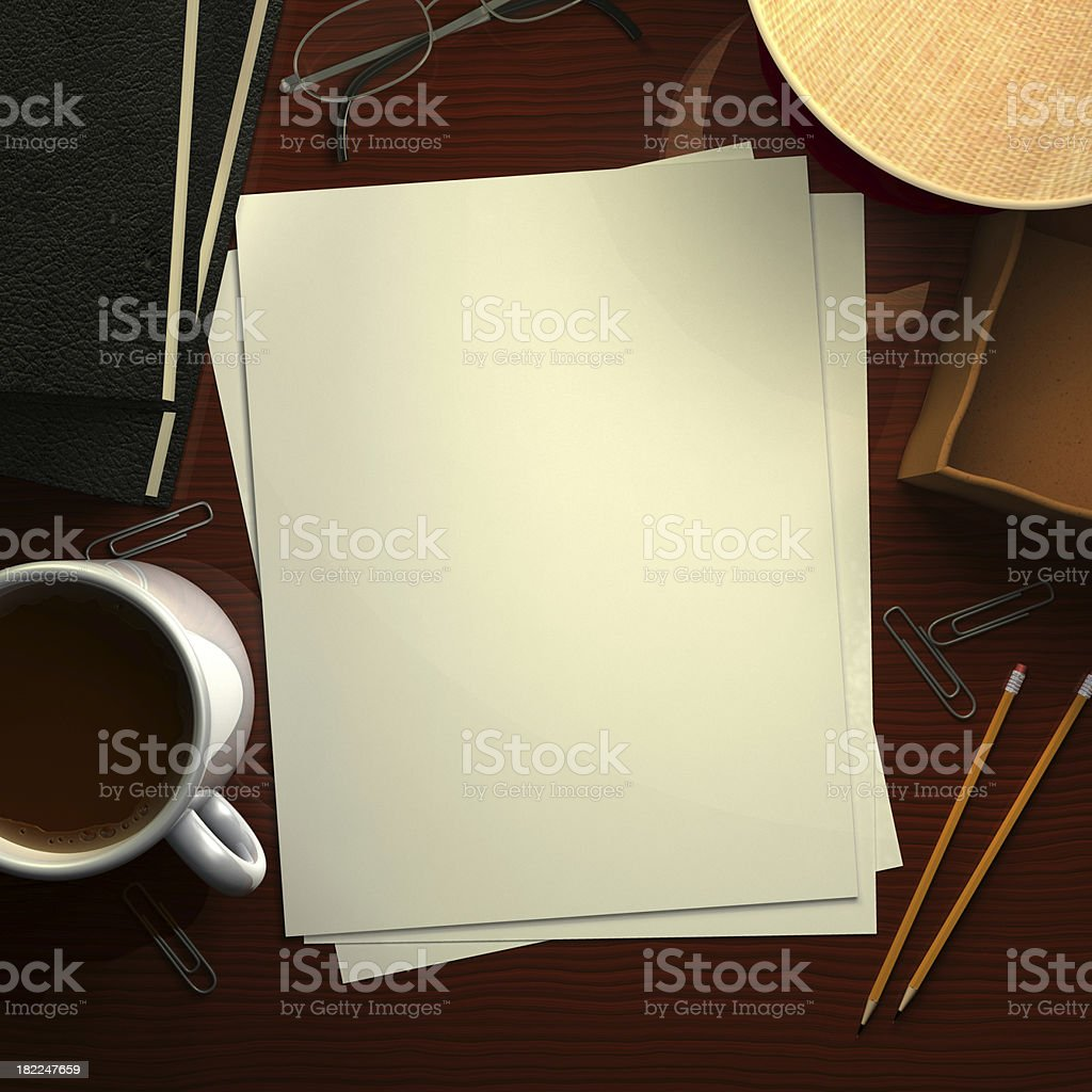 Desk with Blank Paper royalty-free stock photo