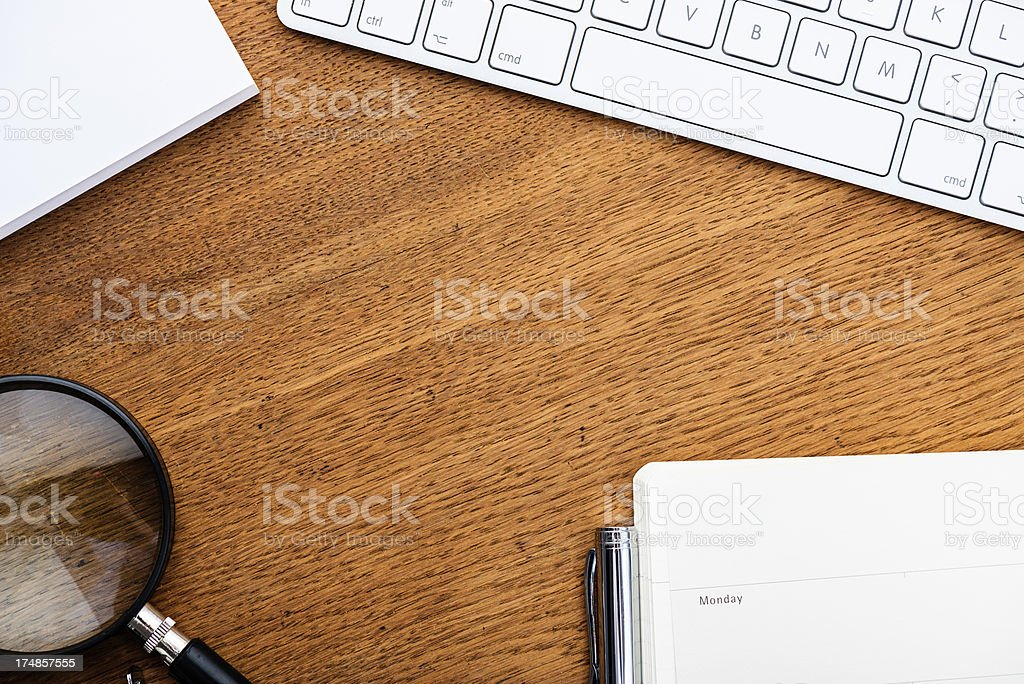 Desk with office objects royalty-free stock photo