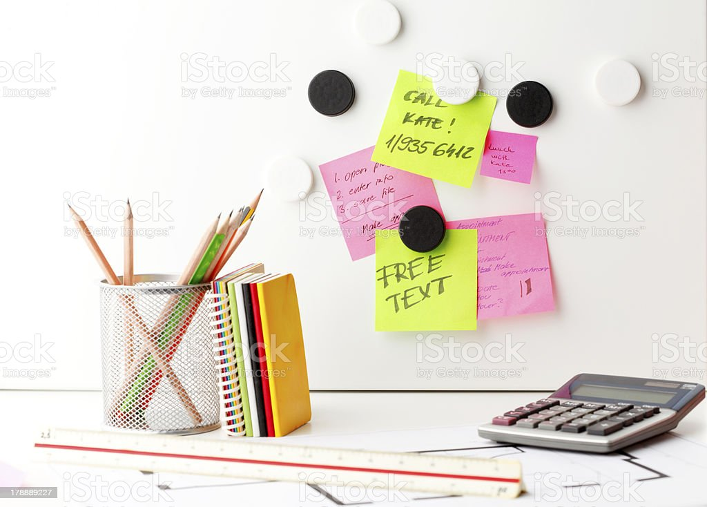 Desk with 'Post It' notes royalty-free stock photo