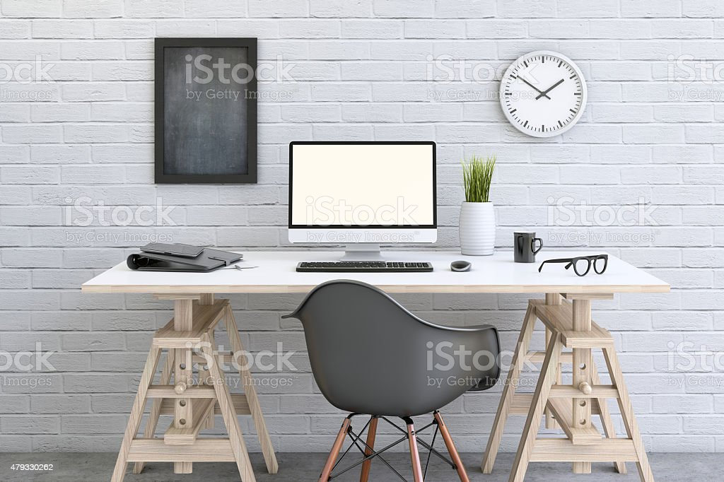 Desk working station with decorative setup stock photo