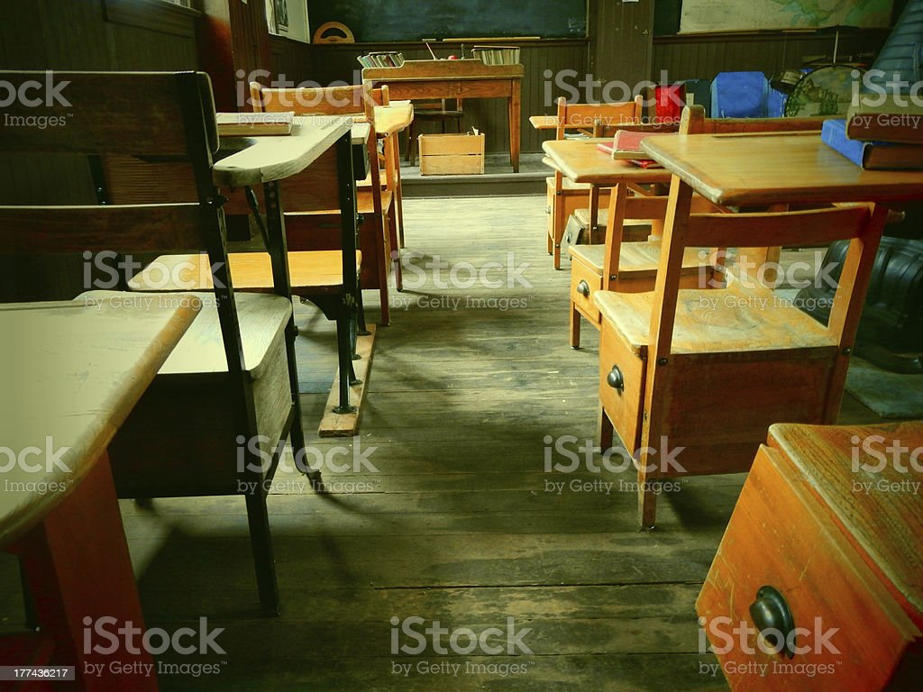 Desks in a Historical Schoolhouse royalty-free stock photo