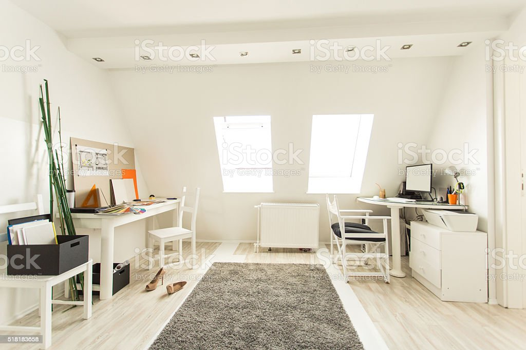 Desks in modern office stock photo