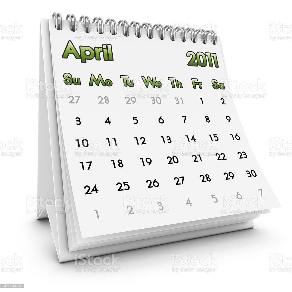 desktop calendar april 2011 royalty-free stock photo
