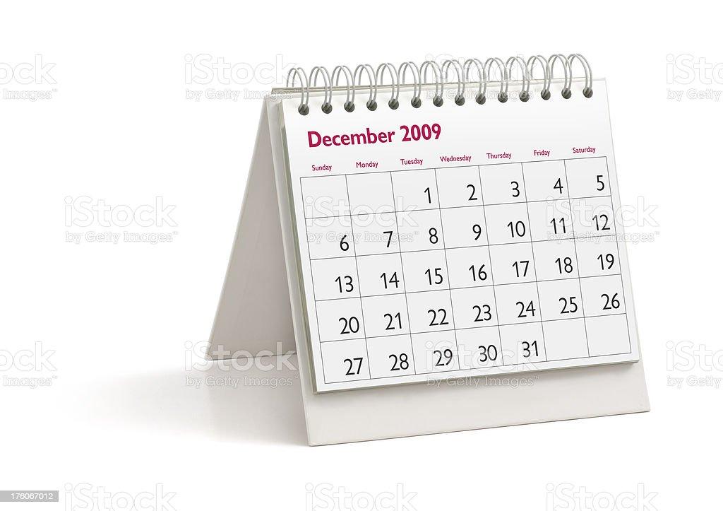 Desktop Calendar: December 2009 stock photo
