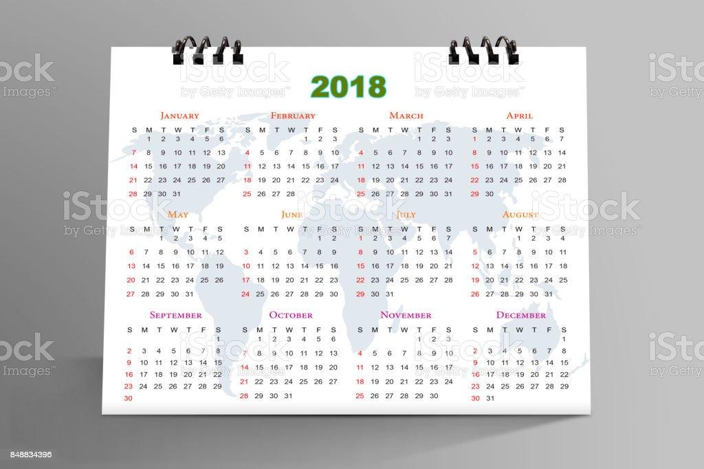 Desktop Calendar Design 2018 stock photo