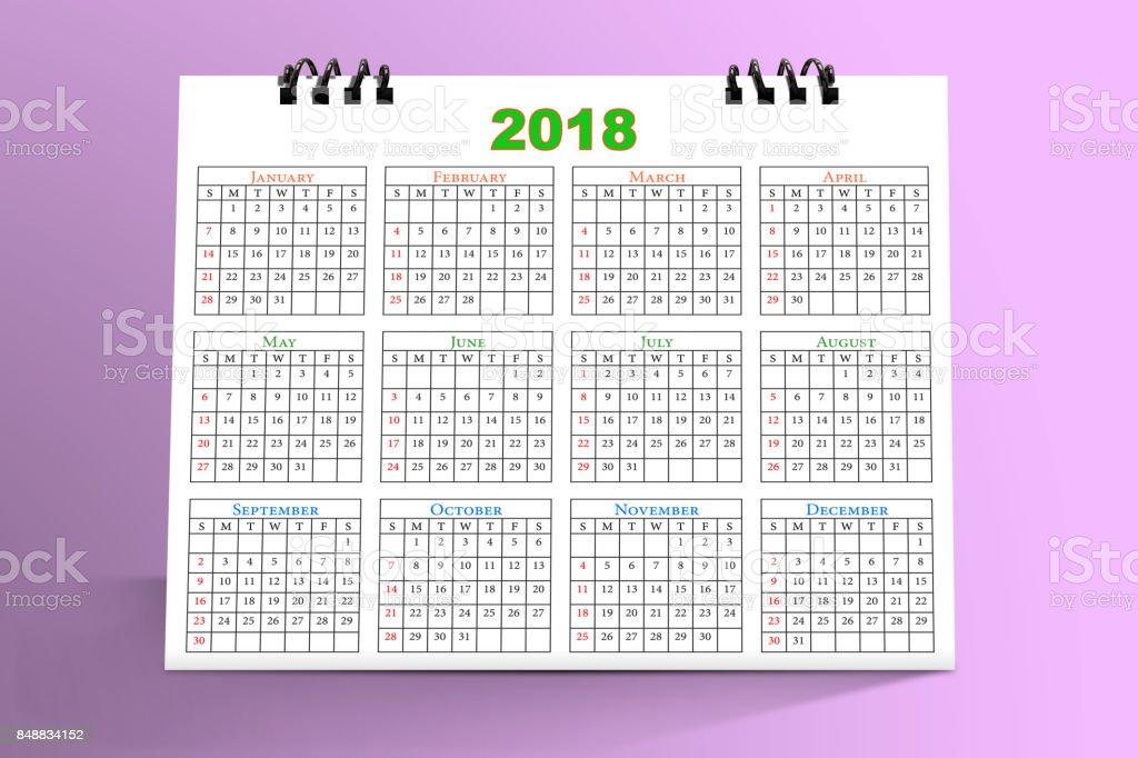 Desktop Calendar Design 2018 with mockup in pink background stock photo