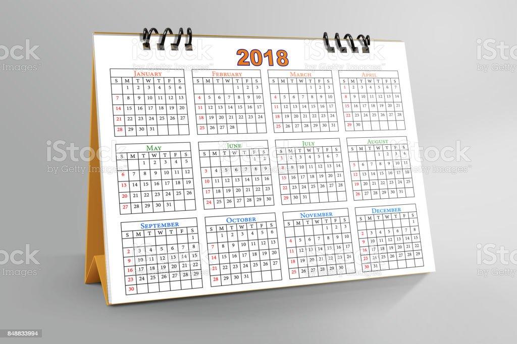 Desktop Calendar Design 2018 with mockup stock photo
