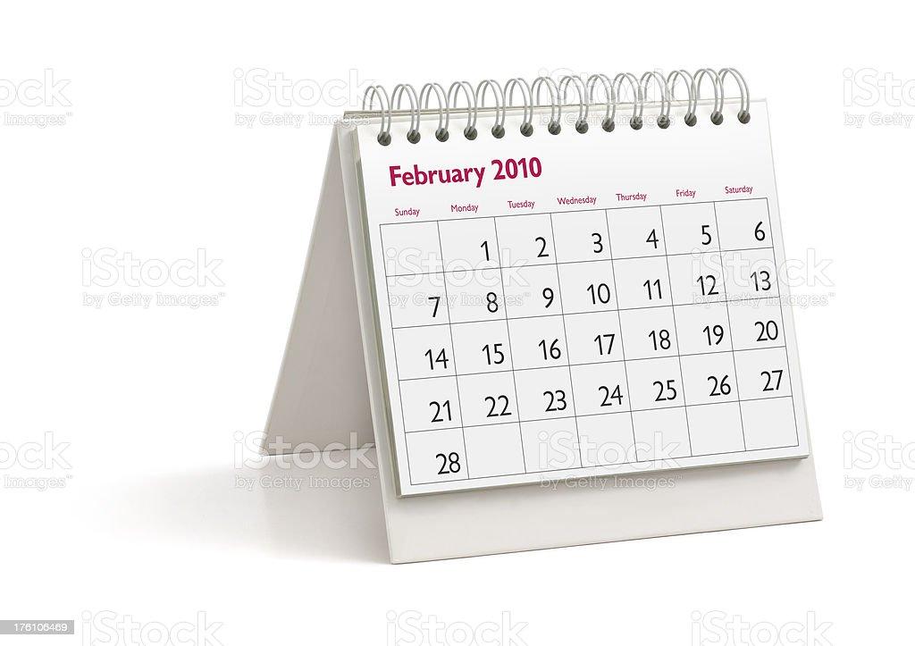 Desktop Calendar: February 2010 royalty-free stock photo