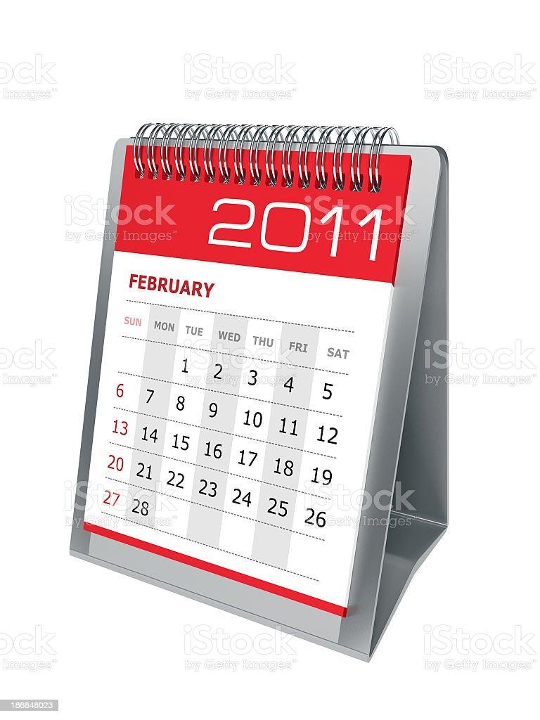 Desktop calendar. February 2011 royalty-free stock photo