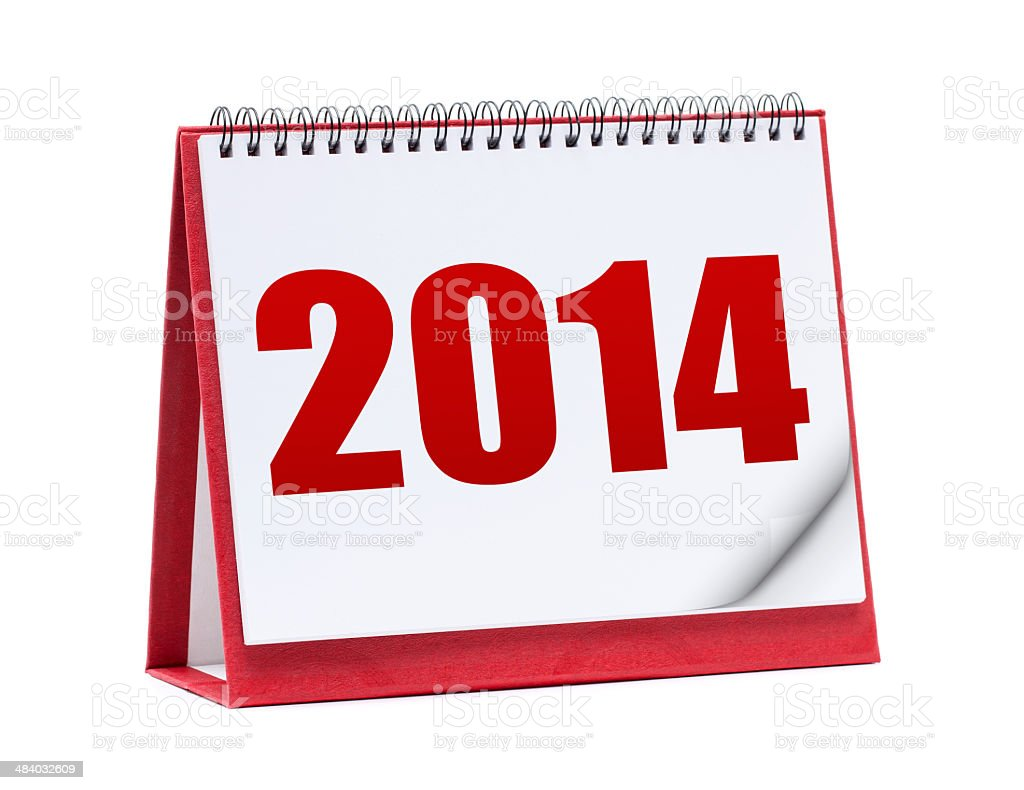 Desktop calendar in 2014 isolated on white background royalty-free stock photo