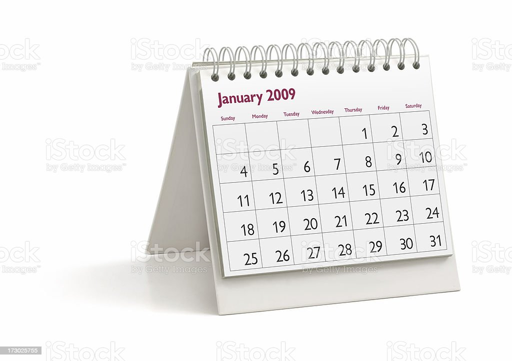 Desktop Calendar: January 2009 royalty-free stock photo