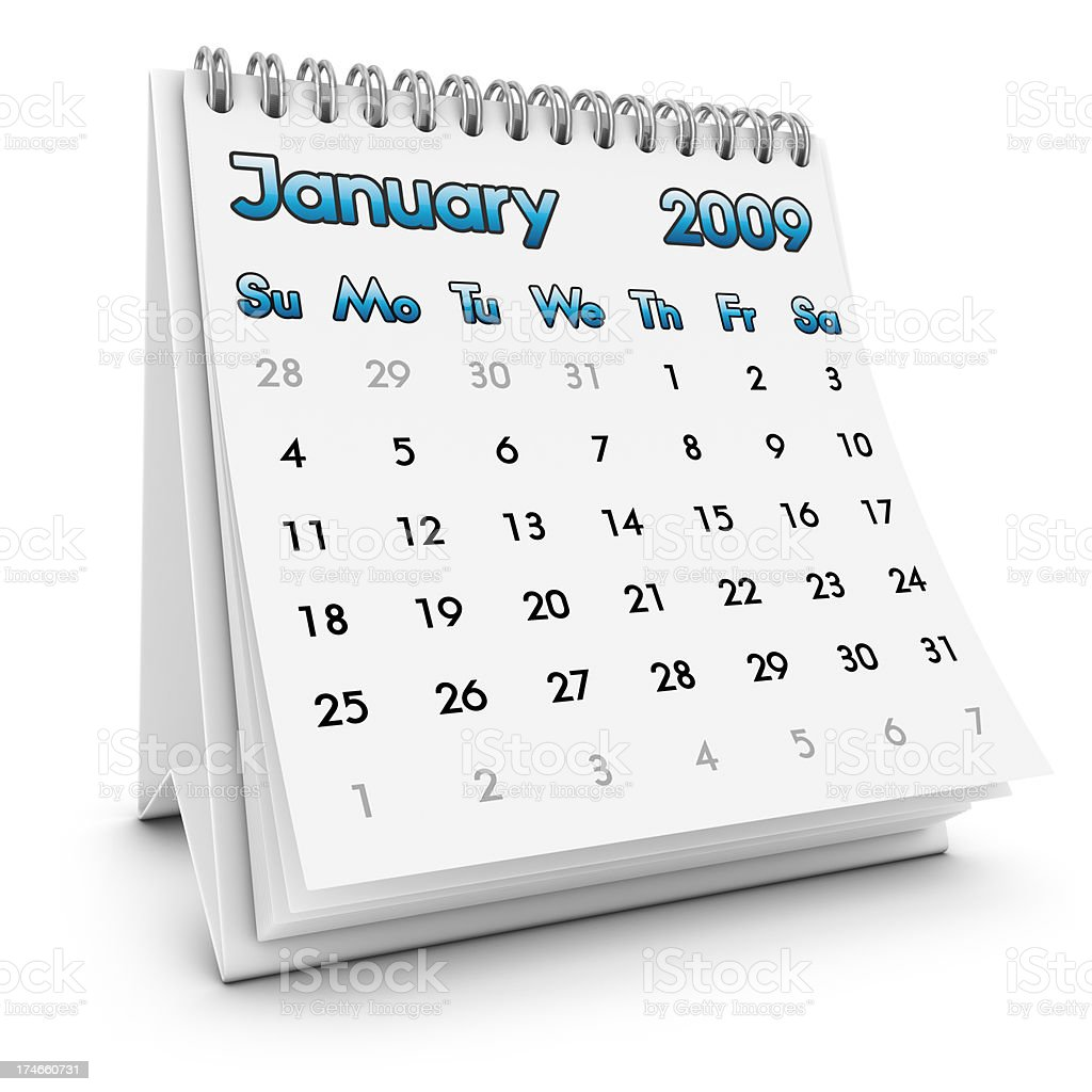 desktop calendar january 2009 royalty-free stock photo