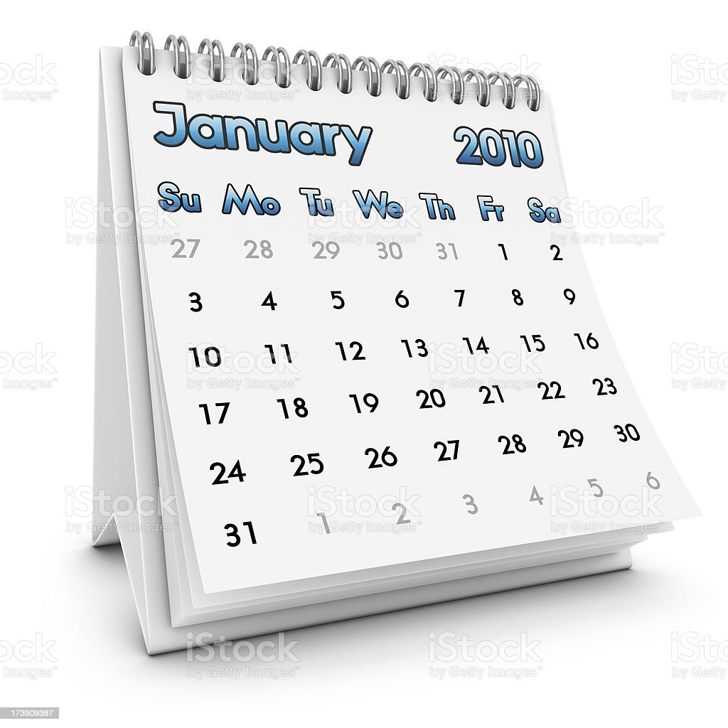desktop calendar january 2010 royalty-free stock photo