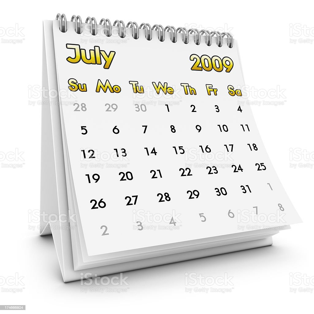 desktop calendar july 2009 royalty-free stock photo
