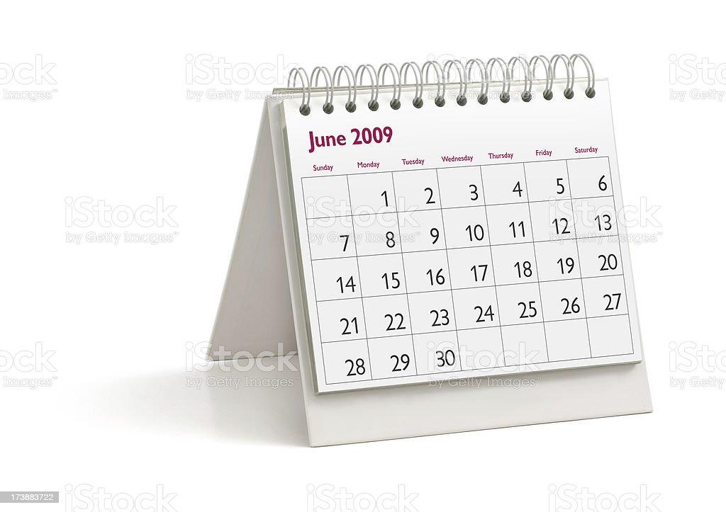 Desktop Calendar: June 2009 stock photo