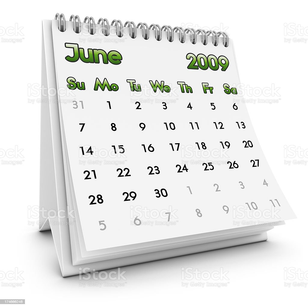 desktop calendar june 2009 royalty-free stock photo