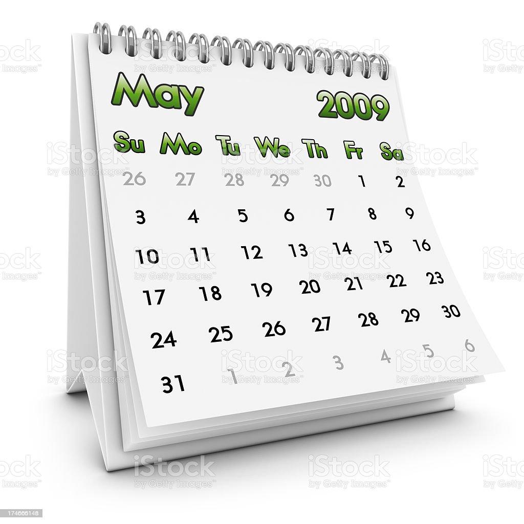 desktop calendar may 2009 royalty-free stock photo