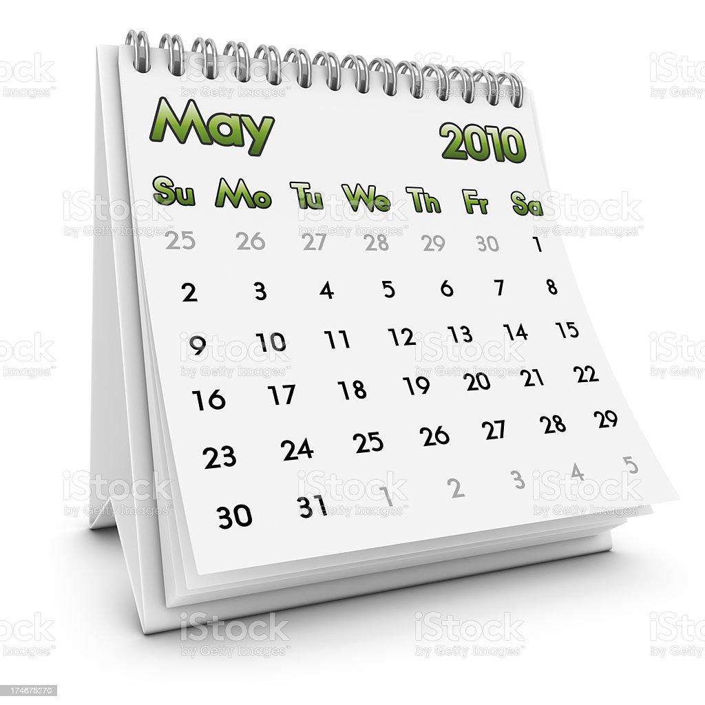 desktop calendar may 2010 royalty-free stock photo