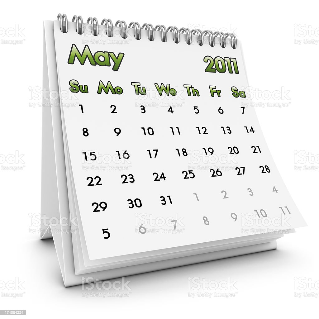 desktop calendar may 2011 royalty-free stock photo
