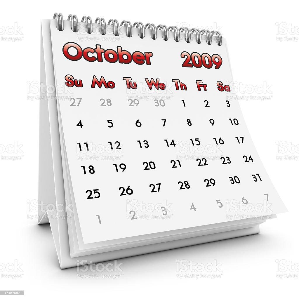 desktop calendar october 2009 royalty-free stock photo