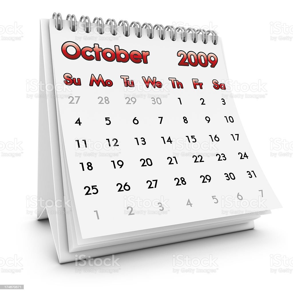 desktop calendar october 2009 stock photo