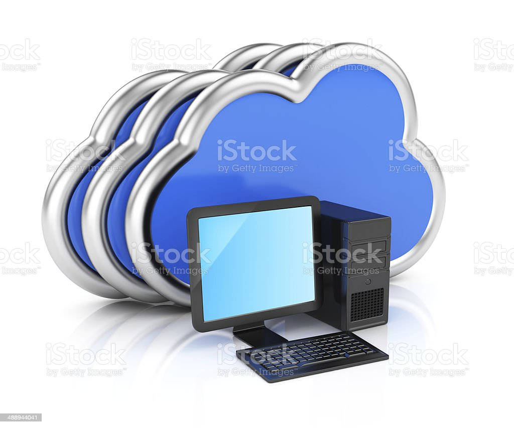 Desktop computer and clouds royalty-free stock photo
