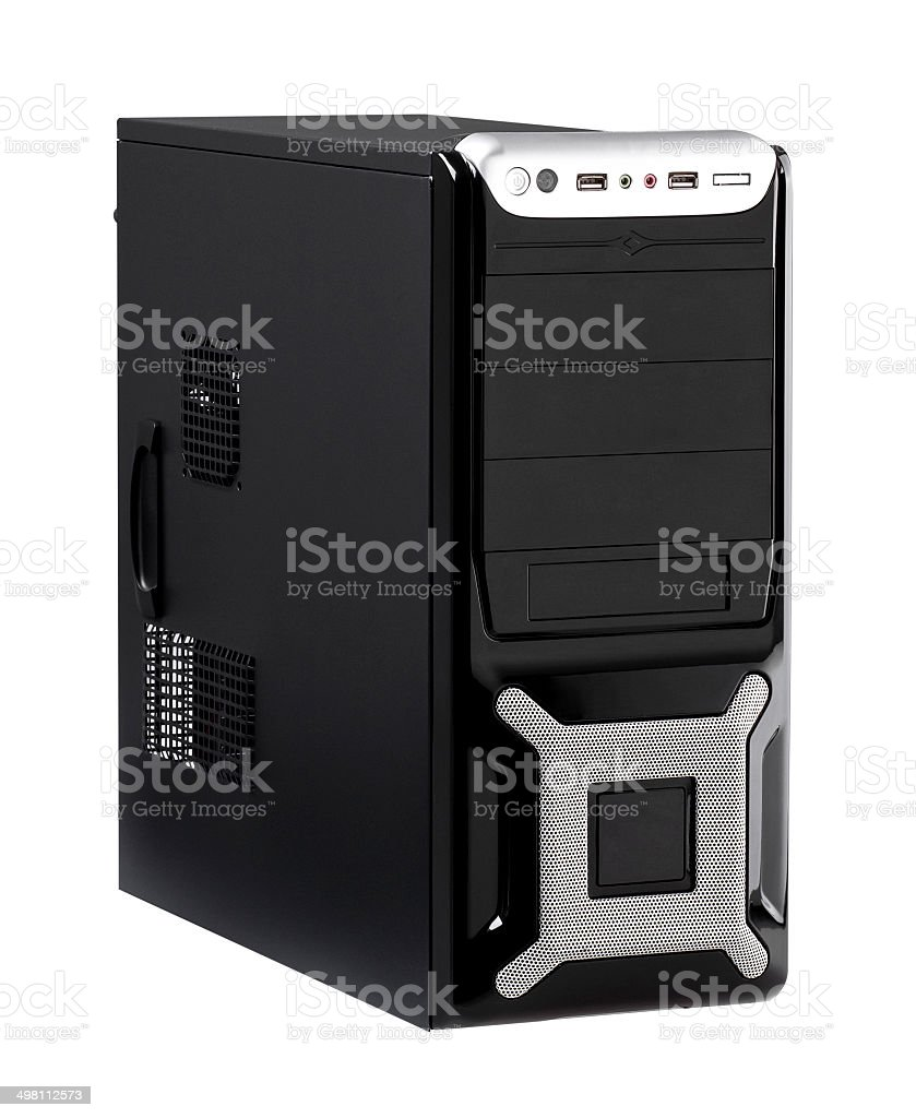 Desktop computer case with high speed CPU isolated stock photo