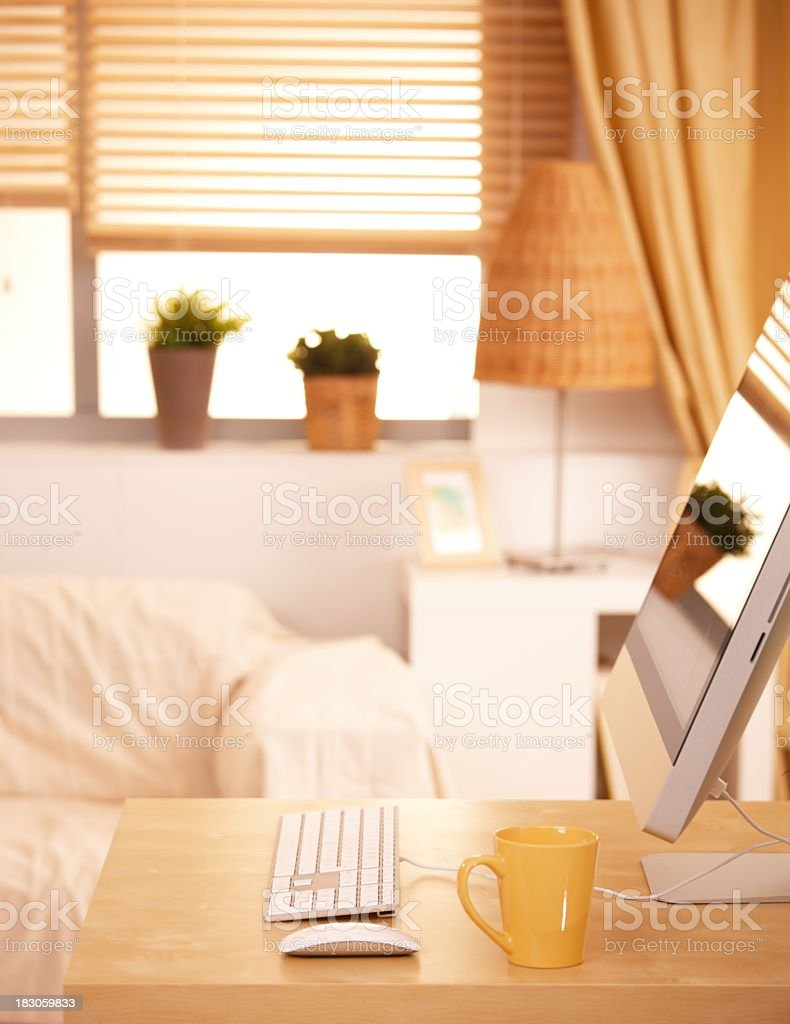 Desktop computer in living room royalty-free stock photo