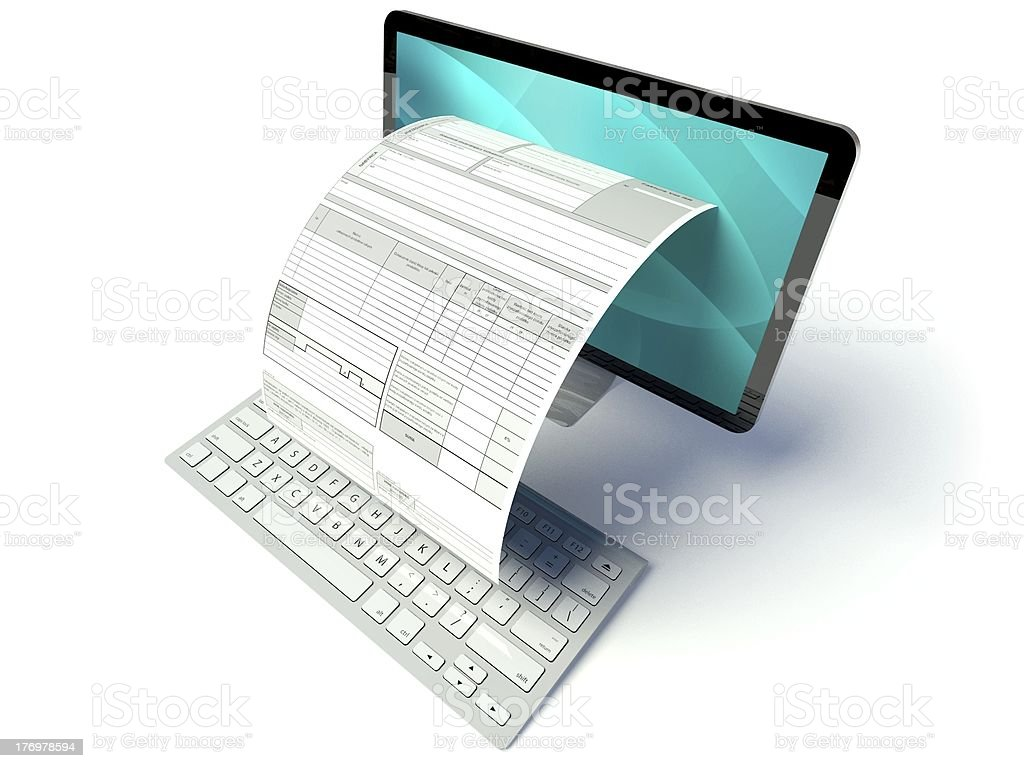 Desktop computer screen, tax form or invoice stock photo