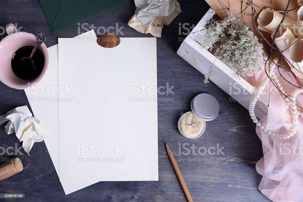 Desktop creative romantic planning set on wooden table. stock photo
