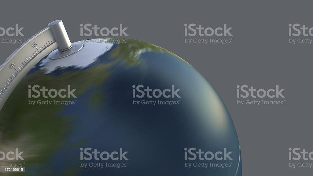 3D desktop globe on gray: close up royalty-free stock photo