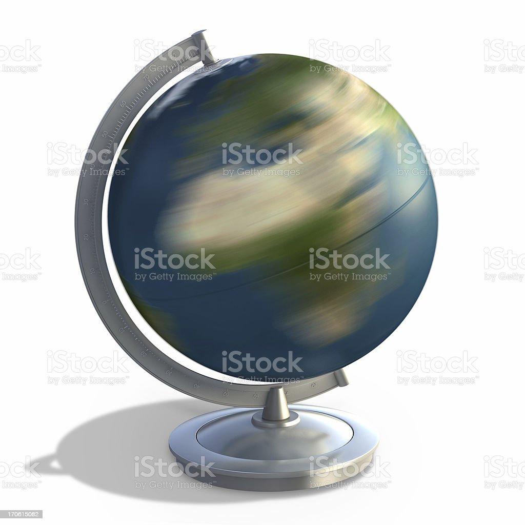 3D desktop globe on white stock photo