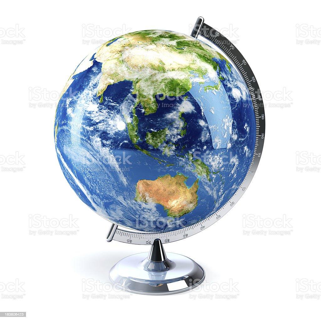 Desktop globe showing Asia and Australia stock photo