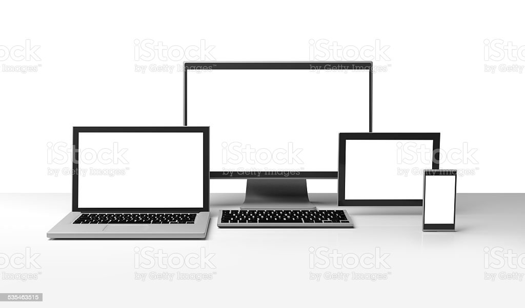 Desktop, laptop computer, smartphone, tablet, clipping path stock photo