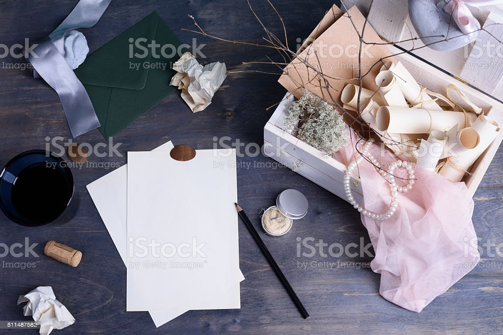 Desktop mix on a wooden office table stock photo