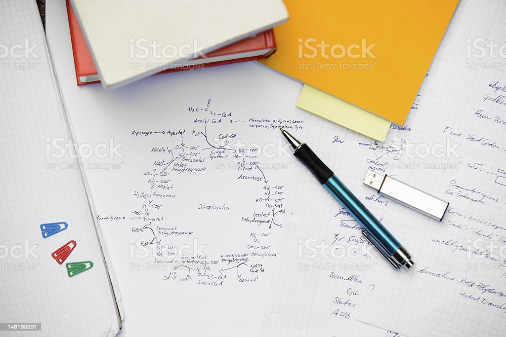 Desktop of a student royalty-free stock photo