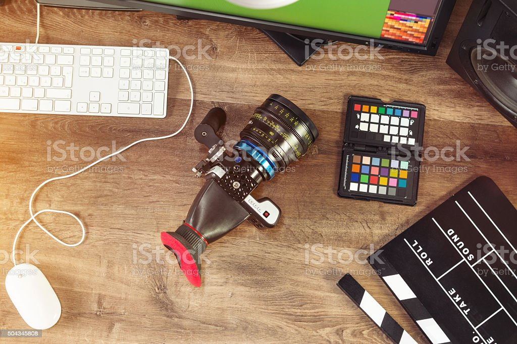 Desktop shot of a modern Cinema Camera stock photo