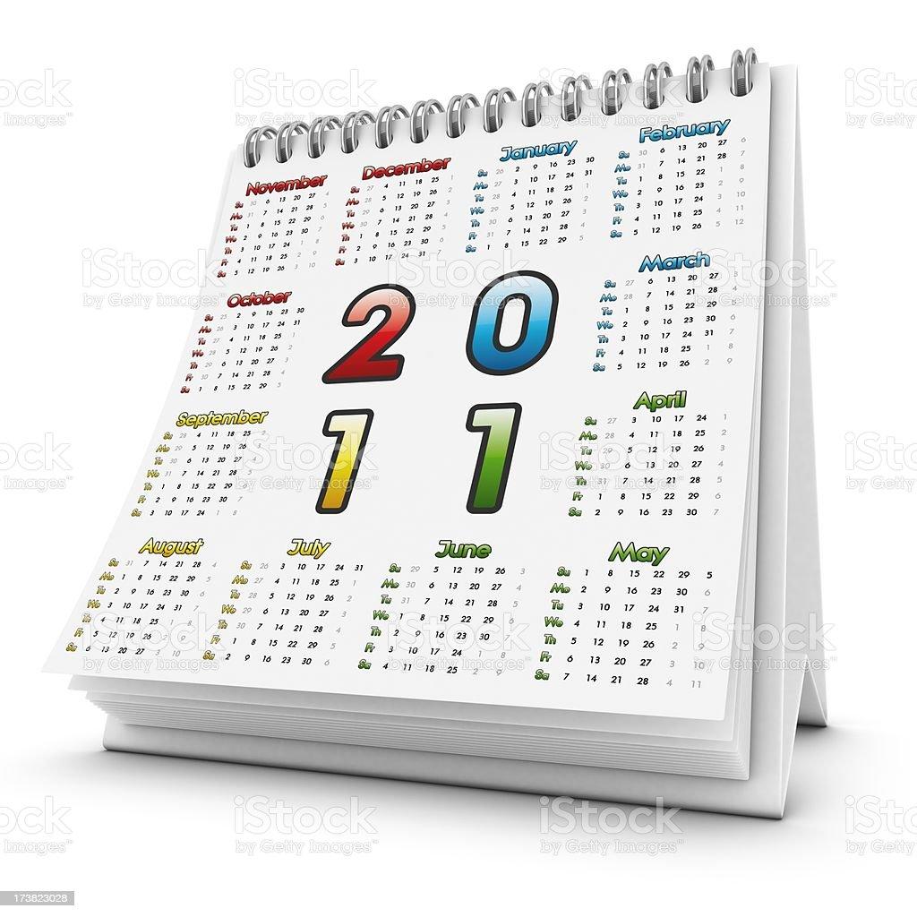 desktop square calendar 2011 royalty-free stock photo