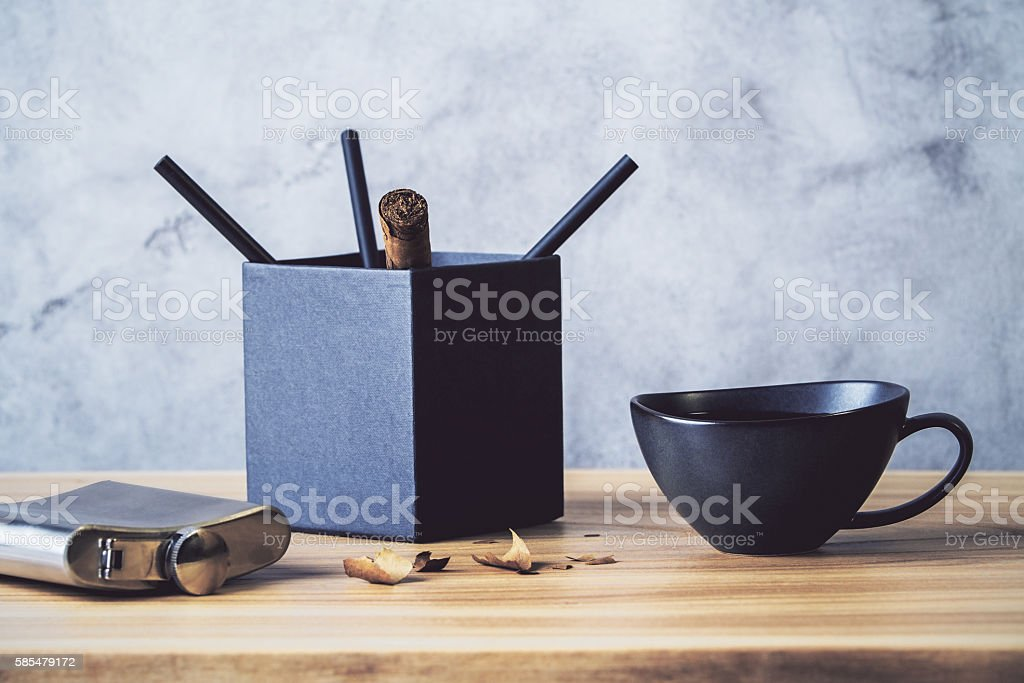 Desktop with pencil holder stock photo