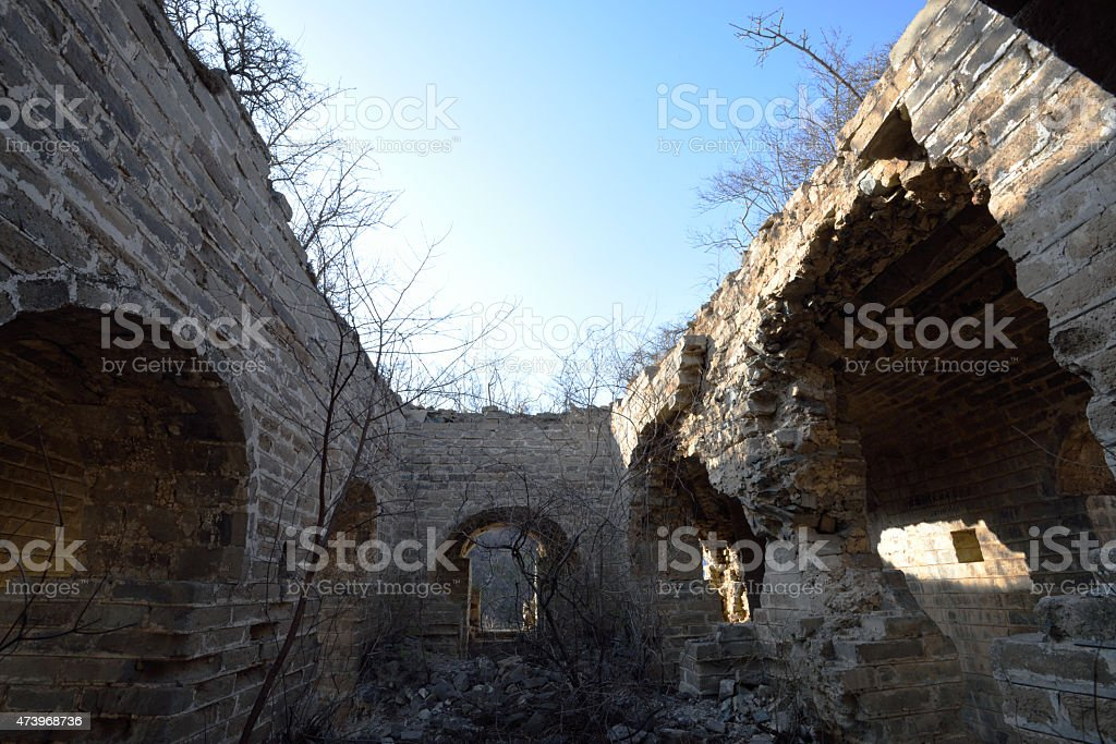 desolate and ruined beacon tower stock photo