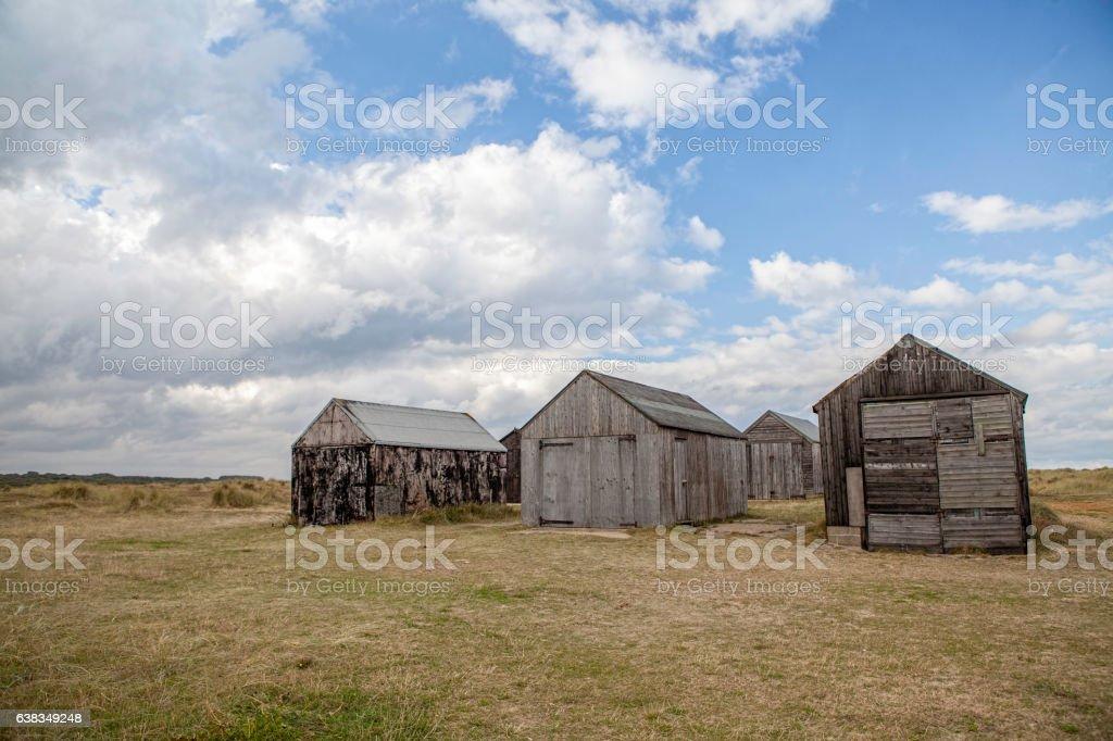 Desolate storage sheds stock photo