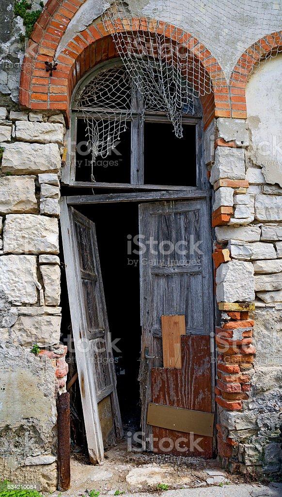 desolate wooden door stock photo