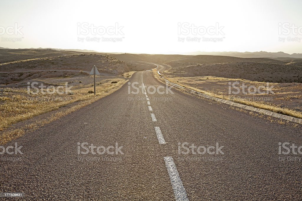 Desolated desert highway. royalty-free stock photo