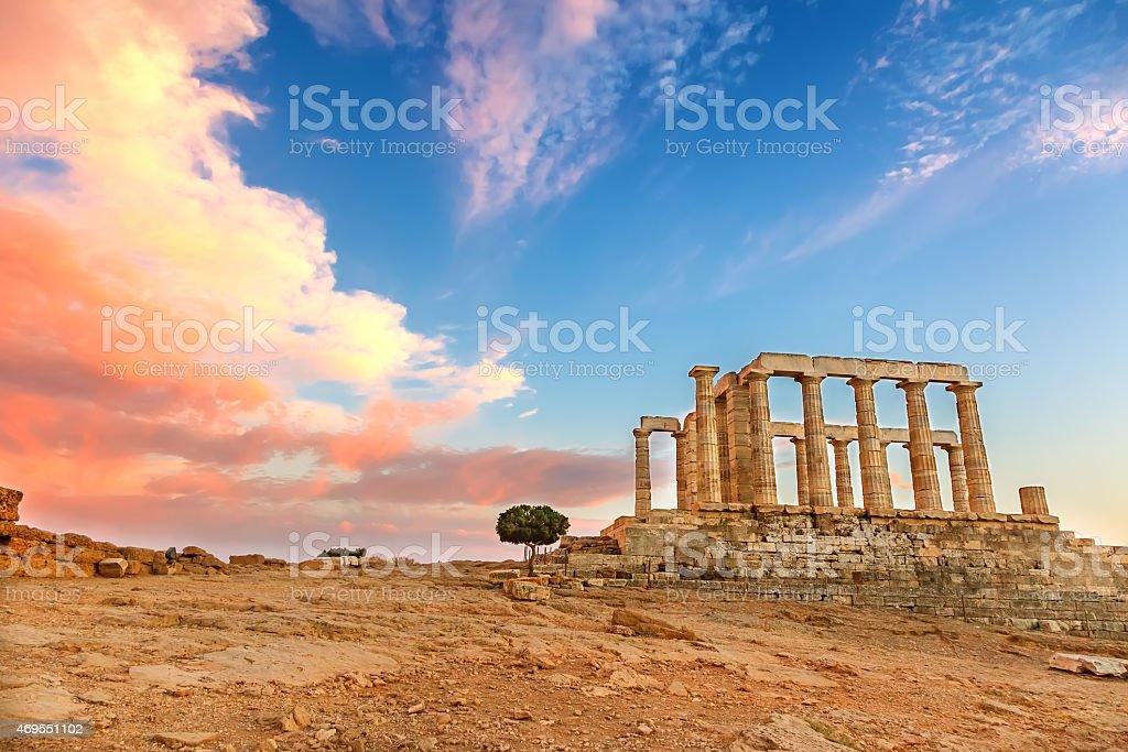 Desolated scene of Poseidon Temple at sunset stock photo