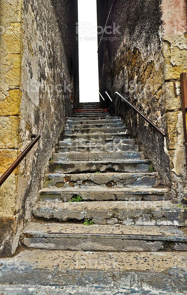 Desolated Treppe in schlechten Ruf town district Lizenzfreies stock-foto