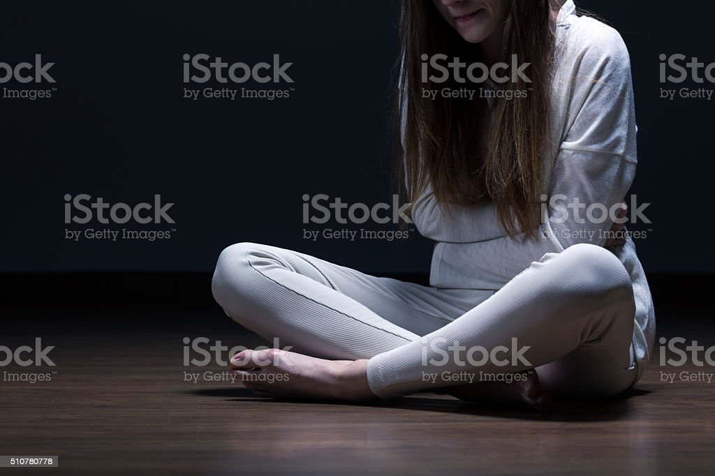 Despair female with mental problem stock photo