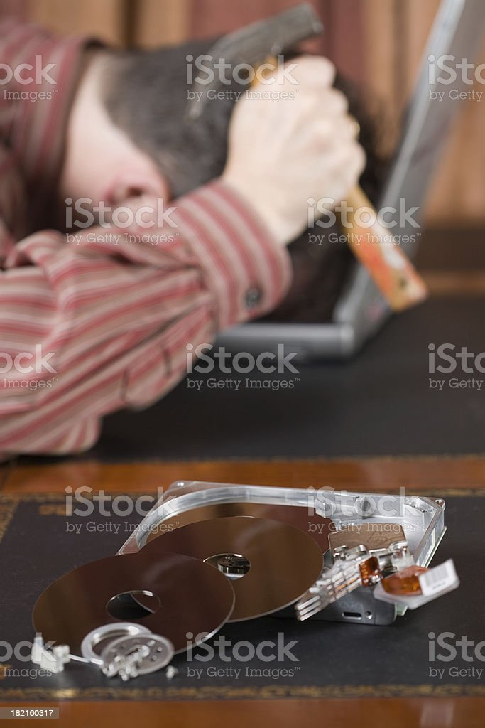 Desparate office worker disaster, all data gone royalty-free stock photo