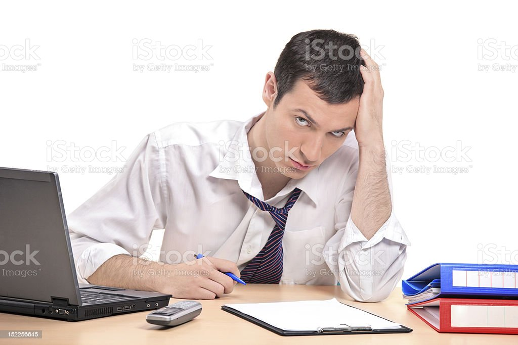 Desperate businessman in his office royalty-free stock photo
