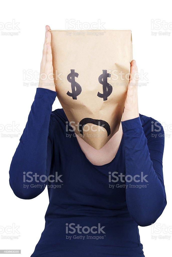 desperate dollar paper bag head stock photo